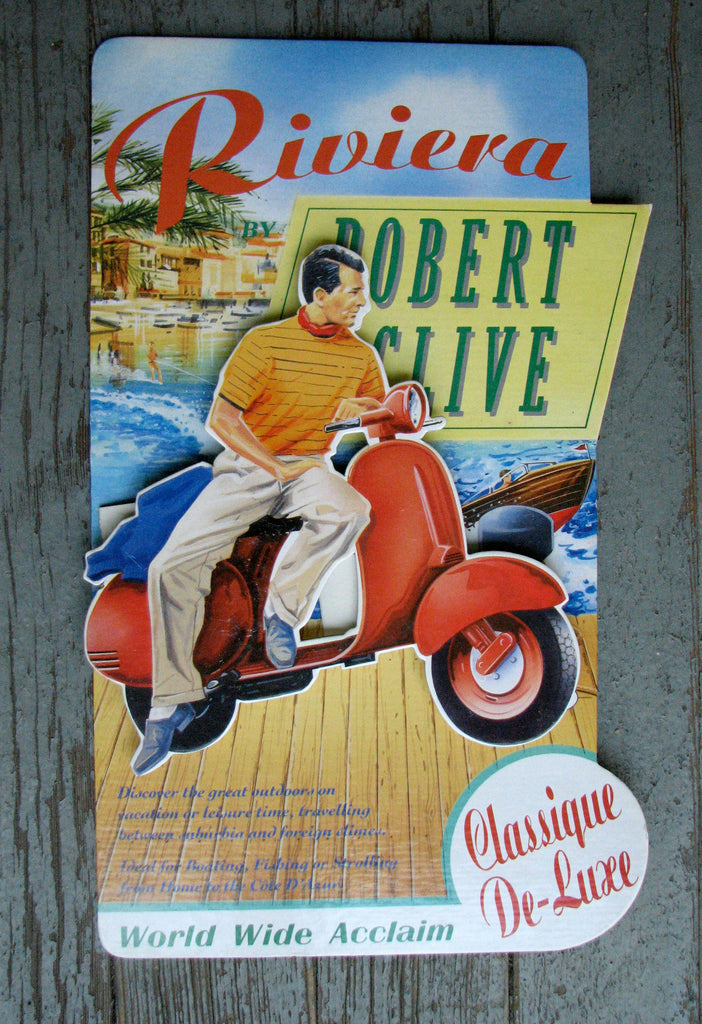 1950's Original Vintage Robert Clive Scooter Moped Diecut Standup Antique Advertising Sign