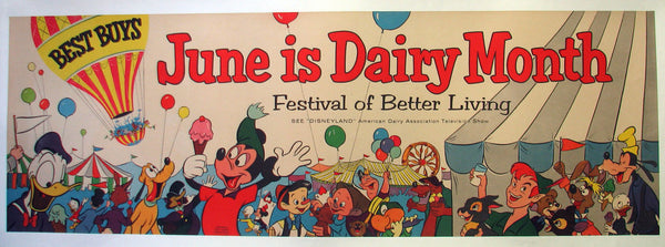 1955 Disneyland TV Show Mickey Mouse Dairy Association Poster