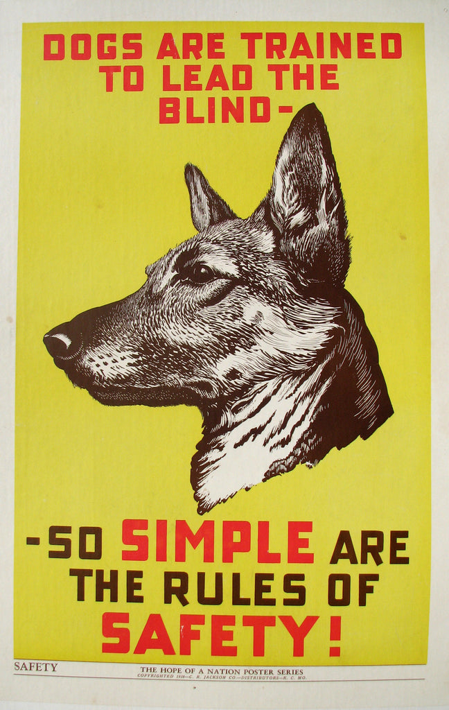 1937 Hope of a Nation German Shepherd Guide Dog WPA era Vintage Poster