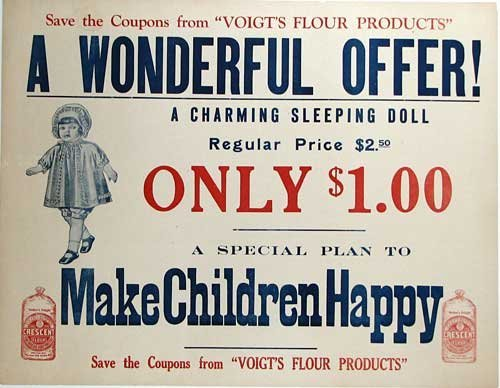 1910 Voight's Flour Original Antique Doll Vintage Advertising Poster