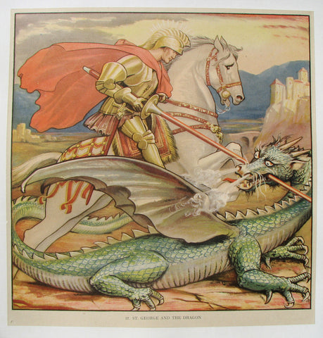 1930's St. George & Dragon British Children's Vintage Poster