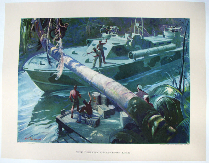1944 Vintage WWII WW2 Electric Boat Co. Green Dragon Torpedo Boat Poster Print