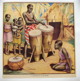 1930's British African Drums Drumming Vintage Children's Poster