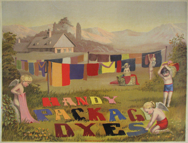1910 Antique American 'Handy Package Dyes' Vintage Clothing Poster
