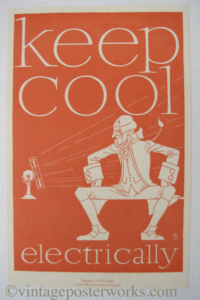 1920 FG Cooper Vintage NY Edison Co. Antique Fan Electicity Poster