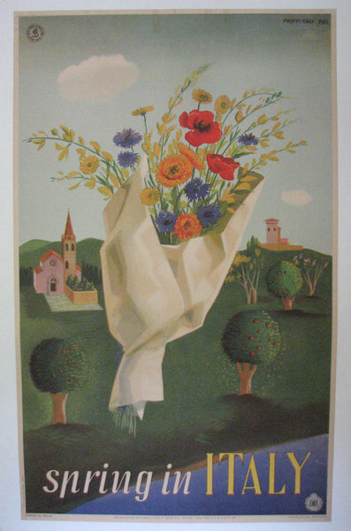 1950 Spring in Italy ENIT Vintage Italian Travel Poster by Previtali