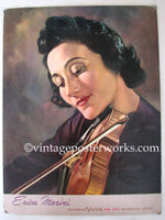 1940's Erica Morini Victor Red Seal Vintage Violin Sign Poster