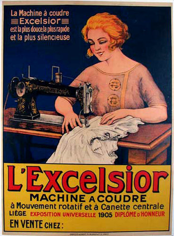 1910 Antique French L'Excelsior Sewing Machine Vintage Poster