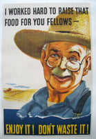 "1940's WWII WW2 US Navy ""Don't Waste it!"" Farmer Poster by Hotchkiss"