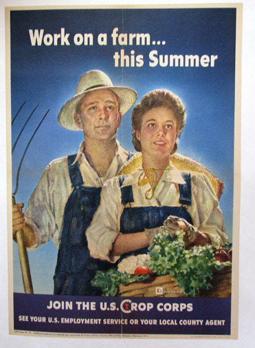 1943 Work on a Farm this Summer WW2 Original Vintage Poster