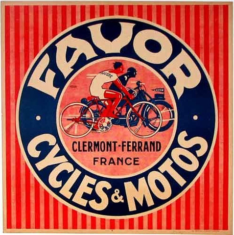 1930's Favor French Vintage Bicycle & Motorcycle Poster
