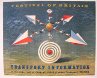 1951 Abram Games Art Deco Festival of Britain Transport Rail Poster