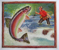 1940's Antique Trout Fishing Fisherman Vintage Poster