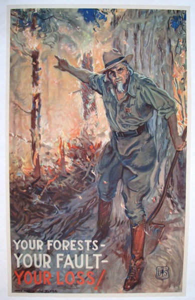 1930's James Montgomery Flagg Original Vintage Fire Safety Poster