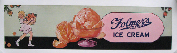 1930's Folmer's Ice Cream Vintage Poster Sign