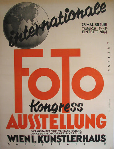 1930's Art Deco Vienna Austria Photography Exhibit Vintage Poster