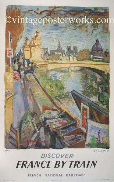1953 Vintage Paris French Rail Travel Poster by Andre Planson
