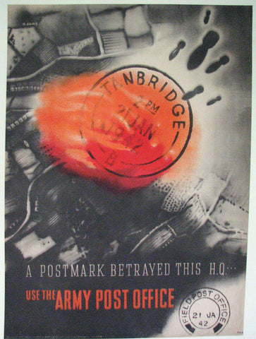 "1942 Abram Games WW2 ""Postmark Betrayed this H.Q"" Vintage Poster"