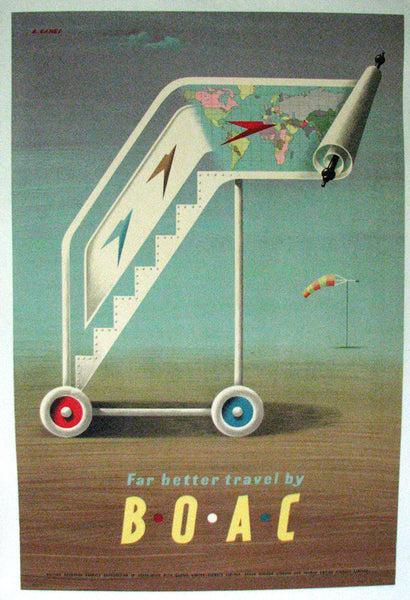 "1951 Abram Games BOAC ""Far Better Travel"" Vintage Travel Poster"