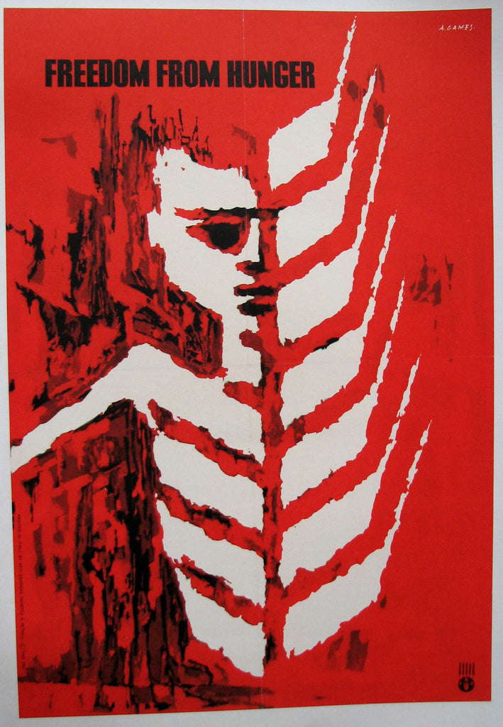 "1962 Abram Games ""Freedom from Hunger"" British UN Vintage Poster Red"
