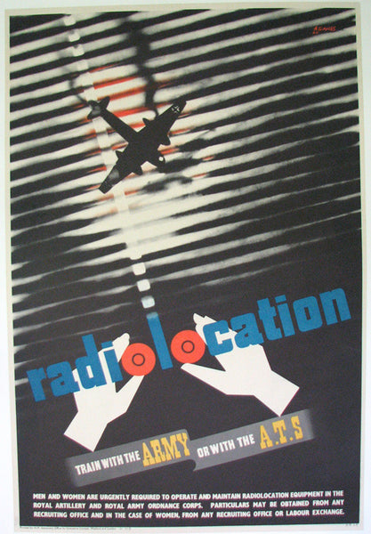 "1942 Abram Games WW2 ""Radiolocation"" British ATS Vintage Poster"