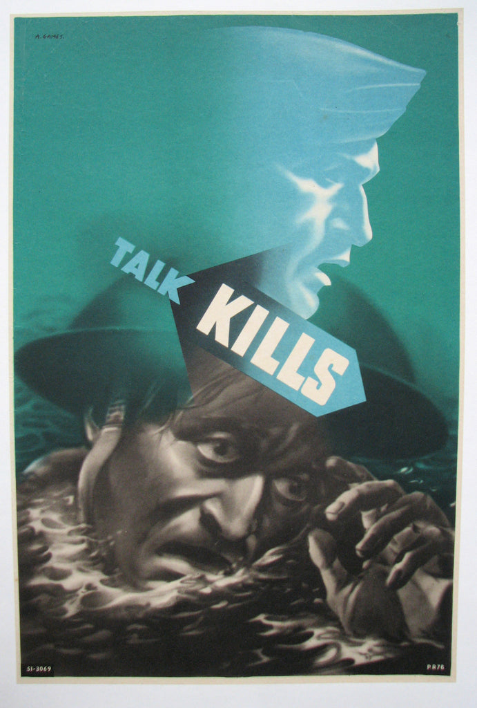 "1940's Abram Games WW2 ""Talk Kills"" British Navy Vintage Poster (Green)"
