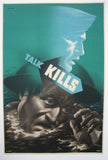 "1940's Abram Games WW2 Green ""Talk Kills"" British Navy Vintage Poster"