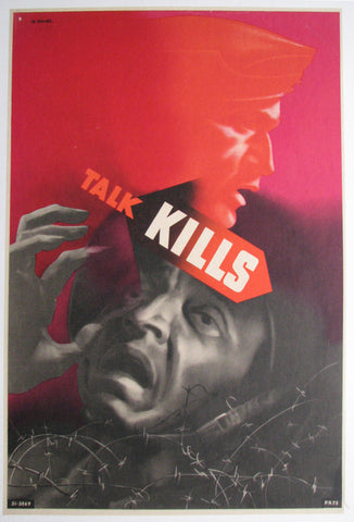 "1940's Abram Games Red WW2 ""Talk Kills"" British Vintage Poster"