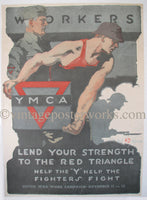 1918 Workers Lend Your Strength WW1 Poster Gil Spear Illustrator