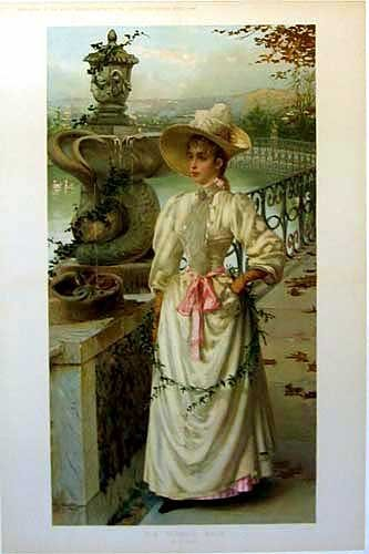 1891 Antique Victorian Italian Vintage Poster Print Vittorio Corcos