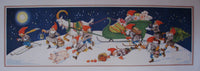 1940's Original Vintage Christmas Elves Swedish Poster