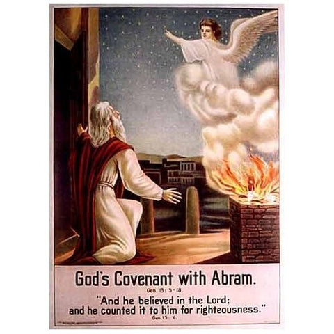 1906 God's Covenant with Abram Vintage Bible Religious Poster