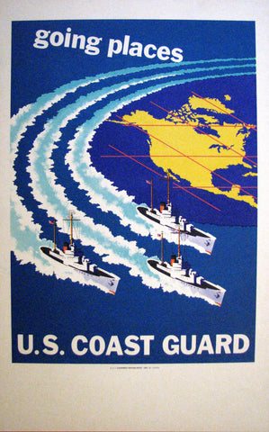 1952 Original US Art Deco Coast Guard Recruitment Poster: Going Places