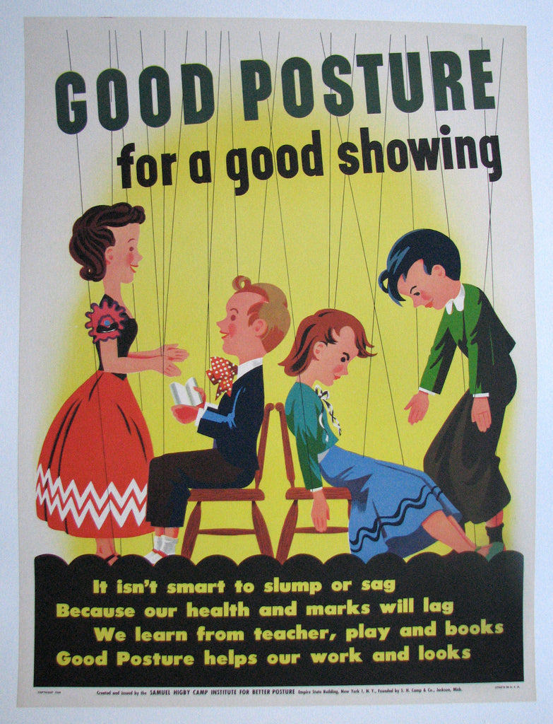 1949 Art Deco Good Posture Vintage Puppet Health Poster