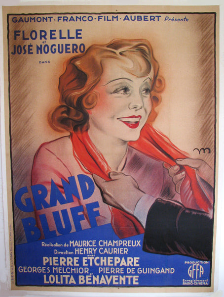 1933 Original Vintage French Florelle Film Movie Poster: Grand Bluff