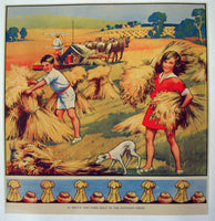 1930's British Harvesting Wheat Vintage Children's Poster