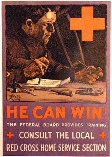 1918 He Can Win WW1 Vintage Red Cross Poster by Dan Smith