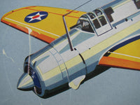 1940's Vintage WW2 Harry Jaffee Curtiss Helldiver Airplane Poster
