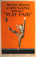 1937 Hope of a Nation Fair Play Football WPA era Vintage Poster