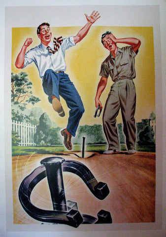1940's Horseshoe Players Vintage Antique Advertising Poster