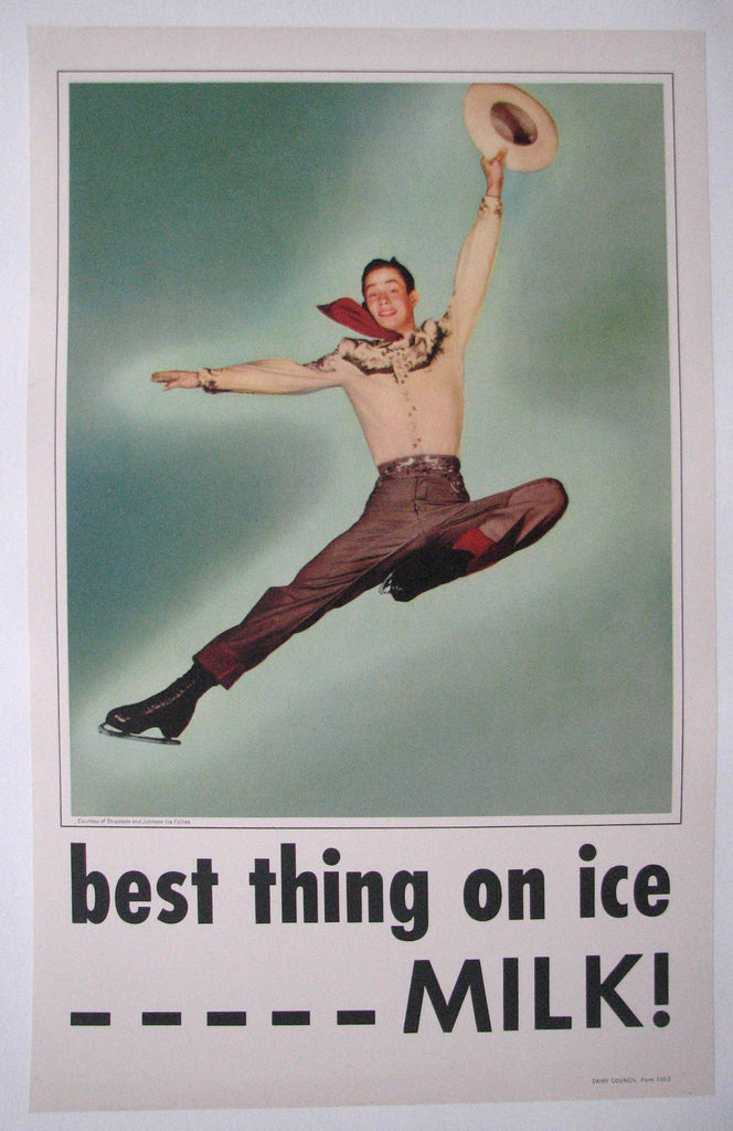 1950's Vintage Shipstads & Johnson Ice Follies Cowboy Milk Skating Poster