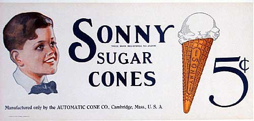 1920's Sonny Sugar Cones Vintage Boston area Ice Cream Poster