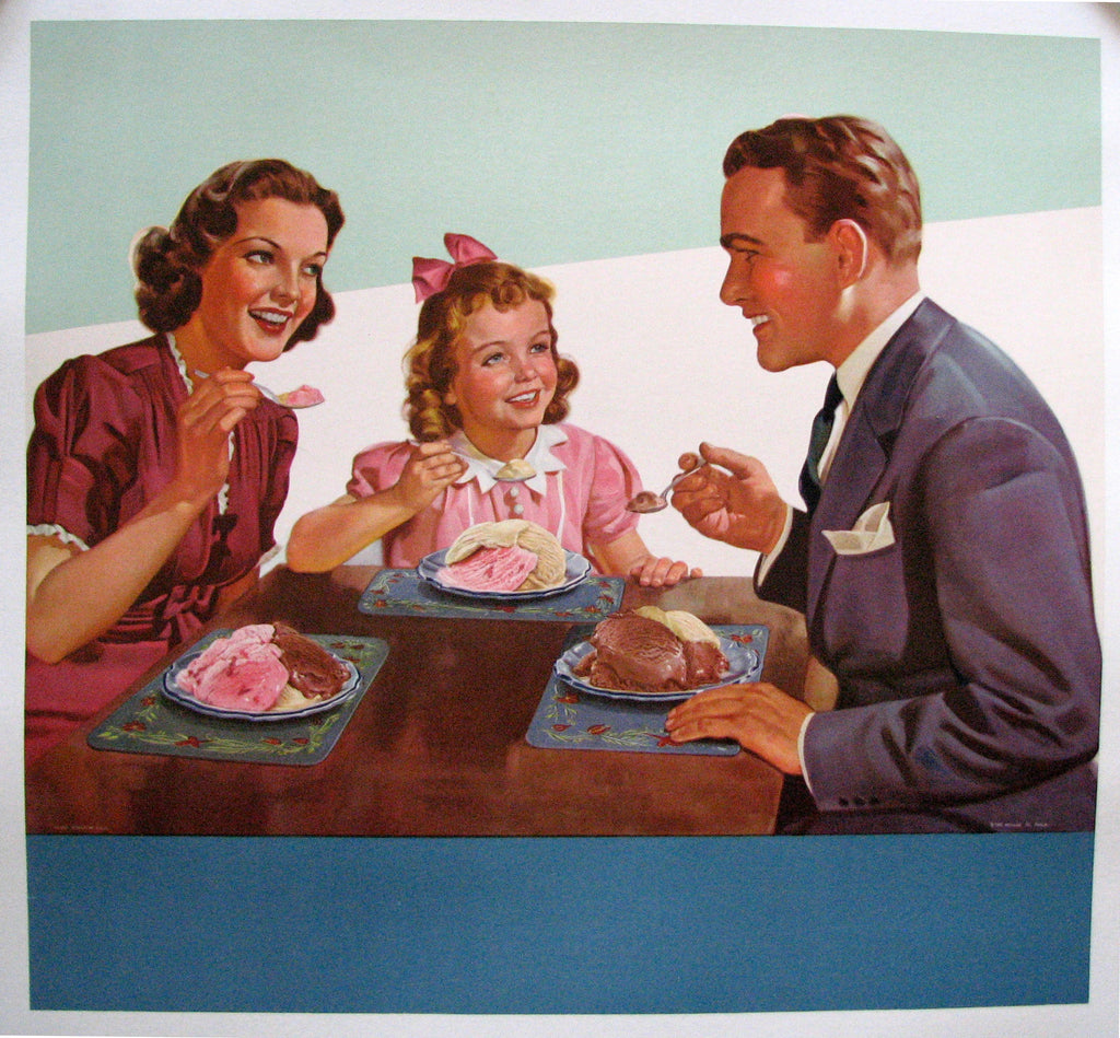 1950's Retro Antique Ice Cream Family Scene Vintage Poster