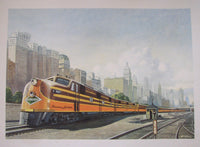 1940's Illinois Central Panama Limited Vintage Chicago Train Poster