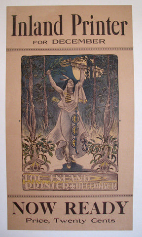 1890's Inland Printer Vintage Native American Literary Poster