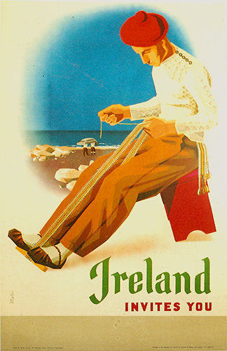 1954 Ireland Invites You Vintage Irish Travel Poster