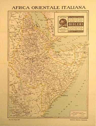 1936 Italian Bisleri Tonic Original Antique Vintage Poster Map
