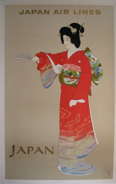 1950's Japan Air Lines JAL Geisha Vintage Travel Poster