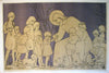 "1919 Austrian Large Bella Vichon ""Jesus Christ Blessing the Children"" Religious Poster"