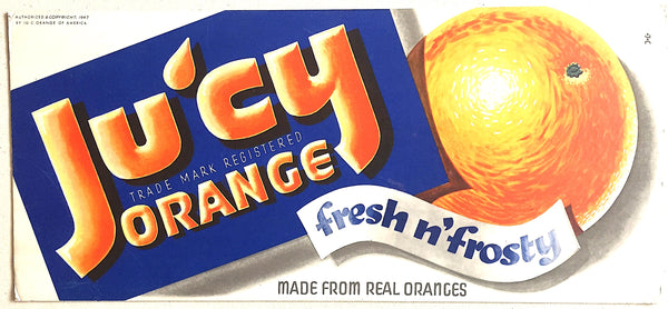 1947 Ju'cy Orange Art Deco Fruit Drink Soda Beverage Vintage Poster